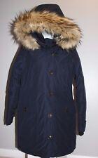 JCrew $450 Nordic Fur Parka Winter Coat NAVY, S hooded e3977 womens jacket