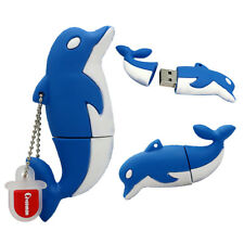1pc 16GB Blue White Dolphin Keychain USB Flash Thumb Drive USA Shipper