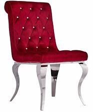 Glamour Fauteuil Chrome Chaise Rouge Velours Louis Vintage Acier Argent Salon