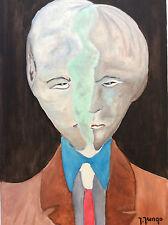 Expressionniste peinture portrait l'homme fissuré signée Jungo 2ème moitié XXè