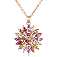 24K Gold Plated Zircon Sweet Heart Women Pendant Chain Necklace GP013