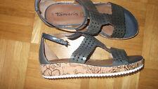 TAMARIS Sandalen Gr. 39, grau, touch it, wie neu! LEDER!