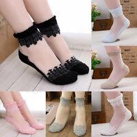 Women Girl Pair Crew Socks Lace Sheer Short Socks Low Cute Sock Summer Wear