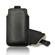 Wallet Sock Case Cover Genuine Leather Push Black Apple IPHONE 3Gs