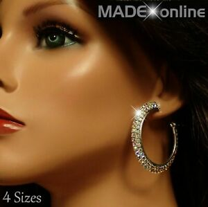 AB Bling Hoop Earrings, Big Sparkle Round Silver Circles