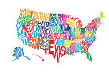 United States of America USA Word Map Art Print Poster 12x18