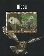 OWL BIRD ANIMAL KINGDOM REPUBLIQUE DU TCHAD 2015 MNH STAMP SHEETLET