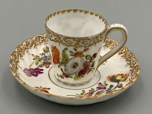 Antique Dresden Miniature Floral Sprays Tea Cup and Saucer.