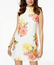 6d23821799646  209 JESSICA HOWARD WOMEN S WHITE FLORAL MOCK-NECK SHIFT COCKTAIL DRESS  SIZE 10