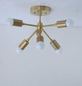 Modern Brass Sputnik Chandelier Mid-century Modern Sputnik 6 arms