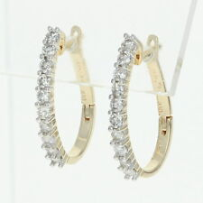 Diamond J-Hoop Earrings - 14k Yellow Gold Pierced Round Cut 1.00ctw