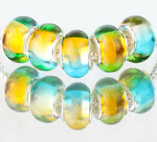 5pcs SILVER MURANO LAMPWORK Beads Fit European Charm Bracelet DIY #D513
