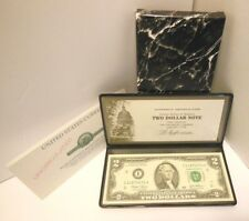 2003 Authentic Uncirculated $2 Two Dollar Bill Note in Holder and Box