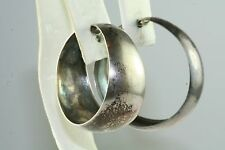VTG ZOTICO MEXICAN STERLING SILVER LARGE NON PIERCED HOOP EARRINGS
