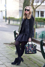NWT LANVIN H&M Faux Fake Black w White Fur Vest Waistcoat size 34 US 4