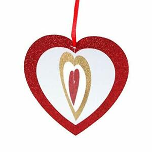 """Quasimoon 6"""" Cut-Out Hearts Glitter Red and Gold Paper Hanging Decoration by ..."""