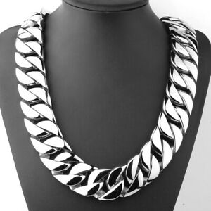 31mm/24mm Huge Men's Silver Stainless Steel Curb Cuban Chain Necklace Bracelet