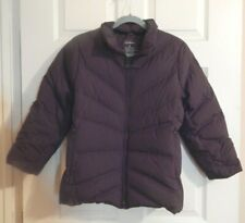LL Bean Women's Medium Puffer Down Jacket Coat Quilted Brown Preowned Full Zip