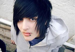 Black EMO Human Hair Wig, Mens, Unisex, One Size.