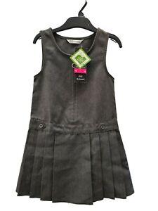 ! EX F&F ! Girls Uniform Kids Pinafore School Wear Dress Sleeveless GREY