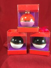 3 Kate Spade Deck the Halls Christmas Ball Ornaments Black Cream Red Pink NEW