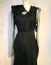 osfm Comme Des GARÇONS vintage Dress fringes hem bias Cut rough torn w belt bag