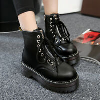 Fashion Womens Zip Creepers Chunky Cleated Platform Goth Punk Ankle Boots Shoes