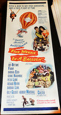 FIVE WEEKS IN A BALLOON! '62 FABIAN, B.EDEN CLASSIC ORIGINAL INSERT FILM POSTER!