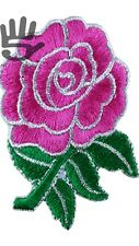 England Rugby English Rose Flower IronSew On Patch Badge pink green A158