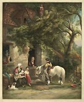 "Country Farm House, Horse, Dog, Frost, Country, antique print, 20x16"" ART"