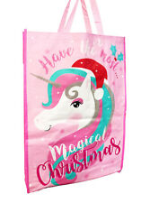 Christmas Shopping Bags Tote Presents Storage Gifts Reusable Grocery Big Unicorn