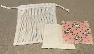 Handmade 5 Washable Reusable Make Up Remover Pads & Bag Eco Friendly Zero Waste