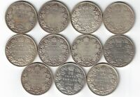 11 X CANADA TWENTY FIVE CENTS QUARTERS KING GEORGE V 800 SILVER COINS 1921-1936