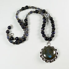 Labradorite Pendant Necklace Sterling Silver and Mixed Beads Blue Color