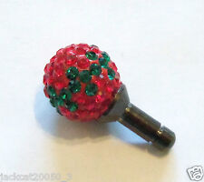 Anti Dust Swarovski Crystal Red & Green Plug Earphone Jack Cell Phone Bud 3.5mm