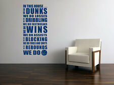130x60cm In This House We Do Basketball Vinyl Wall Paper Decal Art Sticker X477