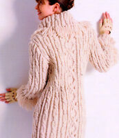 "Womans Aran Cable/Bobble 3/4 Coat Fringed Collar/Cuffs 32 - 45"" Knitting Pattern"
