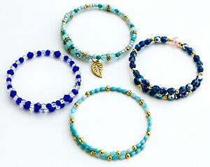 Fashion Lot of 4 Turquoise-Color & Blue Wire bead Single wrap bracelets.  nwot.