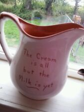 Vintage Ruth Price Signed Pottery Pennsylvania Dutch Motto ware Creamer pitcher