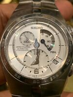 Men's Seiko Arctura 7L22 0AA0 Kinetic Chronograph Wristwatch 42mm Mint