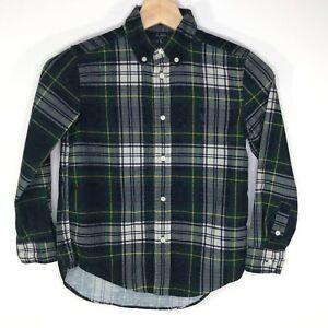 Ralph Lauren Long Sleeve Button Down Shirt Plaid Flannel Green Boy's Size 7