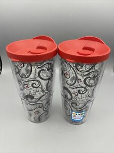 Lot of 2 Tervis Black Red Swirl Pattern Tumblers with Red Lids 24oz