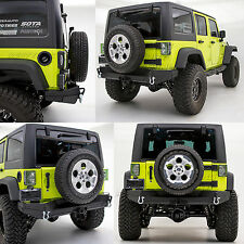 Rock Crawler Recovery Rear Bumper+Solid Plate Wrapped for 07-17 Jeep JK Wrangler