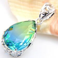 Dazzling Drop Fire BI-COLORED Tourmaline 925 Silver Pendants Chain Necklaces