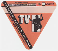 PAUL McCARTNEY 1989 World Tour TV Crew Backstage Pass, Unused Mint- Orange