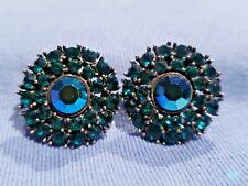 "Green Rhinestone WEISS Clip on Earrings 1"" Diameter Vintage Lovely!"
