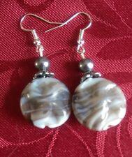 Lampwork drop dangle, silver plated earrings, wavy grey tibetan spacer grey (325