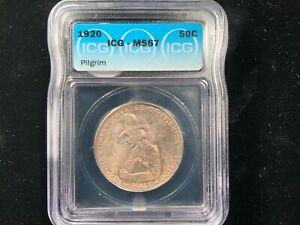 1920 US Silver 50C Pilgrim Tercentenary Half Dollar - ICG MS67