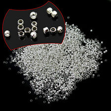 2000pcs Chic Antique Silver Plated Crimps Findings Loose Spacer Beads 2mm New