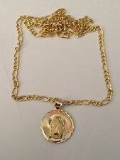 Real 14k Yellow Rose Gold  Religious Virgin Mary Pendant with Figaro Chain
